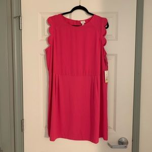 A New Day Pink sleeveless Dress with Scallop Trim